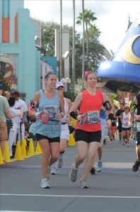 My friend Telisa and me around mile 23 of the Disney World Mickey Marathon and Goofy's Race and a Half Challenge, Orlando, FL, January 2013