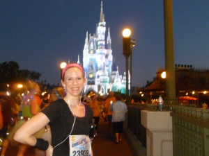 At mile 6 of the Disney World Donald Duck Half-Marathon, Orlando, Florida, January 2013