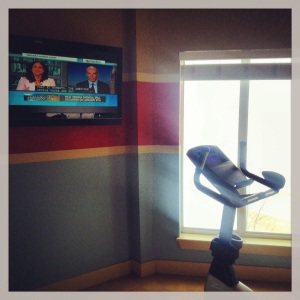 Sunday morning at the gym with MSNBC