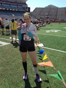 At Memorial Stadium near the finish line, injured and iced leg and everything!