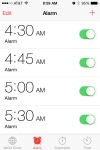 This is my alarm clock schedule. Isn't it ridiculous?