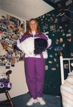 Junior year of high school, wearing my Colorguard warm-ups