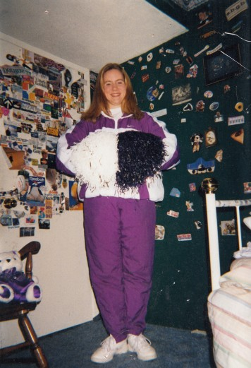 Junior year of high school, wearing my Colorguard warm-ups