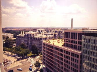 View of the Eisenhower Executive Office Building, The White House, and the Washington Monument