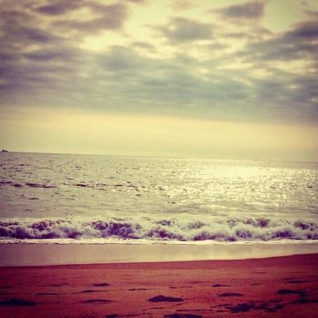 Silvery beach morning.