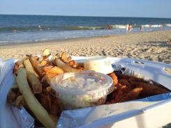 Fried clam strips and malt vinegar fries!