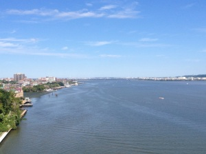Virginia on the left, DC straight ahead, Maryland to the right.