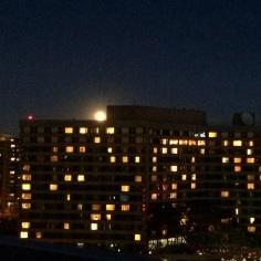 Wednesday moon rising over Crystal City, Arlington, Virginia