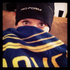 Curling up under the finisher's blanket was my favorite part about this race!