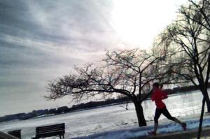 Running along the frozen Potomac River on a 45-degree day, the day after a huge snow and ice storm.