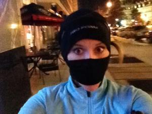 Running after work; wind chill somewhere in the singles. Going all ninja-runner to get my 3 miles done!