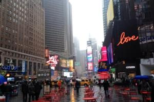 Gloomy and rainy Times Square