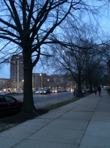 Pentagon City neighborhood on a warm April night