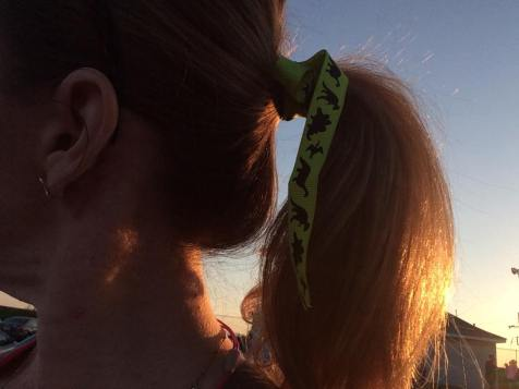 I've had this dinosaur ribbon to wear in my hair for awhile. Thought some extra fun was a good idea!