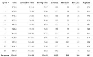 Baltimore 10-Miler splits