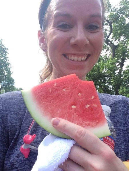 Ice cold watermelon at the finish line!
