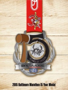 The Baltimore Marathon 2015 finisher's medal, just released this week. Eye on the prize! Photo Credit: Corrigan Sports Enterprises