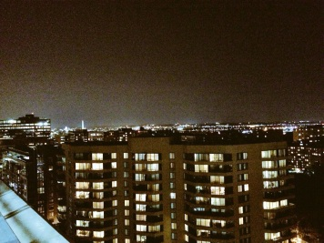 On the roof waiting to see the Perseids meteor shower. Looking east toward Washington, DC