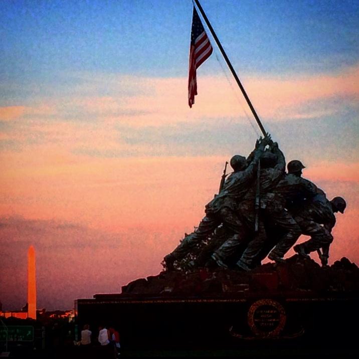 Marine Corps Memorial at sunset