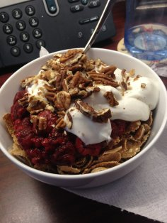 Ancient grain flakes with raspberries, pecans, and nonfat Greek yogurt