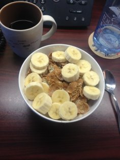 Ancient grain flakes with almond milk, banana, and hemp seeds.