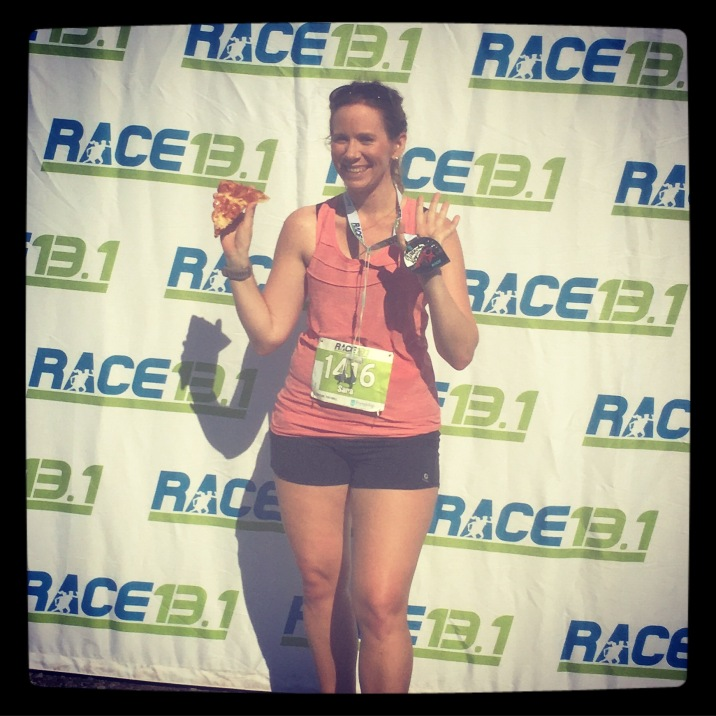 Usually it's just me and the medal celebrating a half-marathon finish!