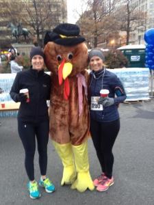 My friend Kristine and me before the S.O.M.E 5K, Thanksgiving Day 2014.