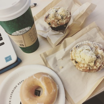 Carb-loading on Friday with Krispy Kreme and blueberry muffins as well as a cinnamon raisin bagel.