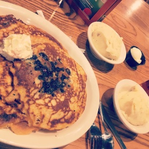 My late dinner of Cracker Barrel pancakes and mashed potatoes