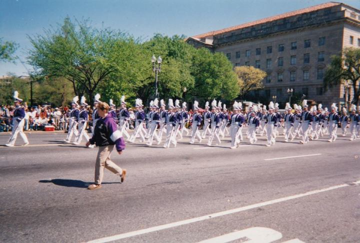 My high school marching band, Bellevue East High School, marching in the 1998 National Cherry Blossom Festival Parade. I'm somewhere in the flute section, pictured here.